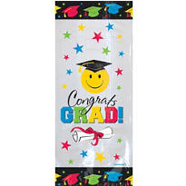Graduation Smiley Face Treat Bags 9 1/2in 20ct