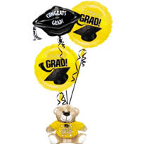 Foil Yellow Graduation Balloon Bouquet 3pc with Bear
