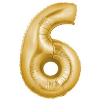 Number 6 Metallic Gold Foil Balloon 34in