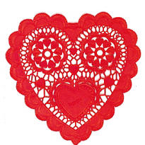 Red Heart Shaped Doilies 12ct