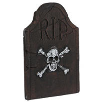 Skull and Crossbones Tombstone Decoration 22in