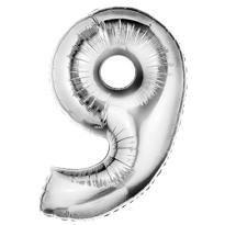 Number 9 Metallic Silver Foil Balloon 34in