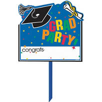 Congrats Grad Colorful Graduation Yard Sign 14in x 15in