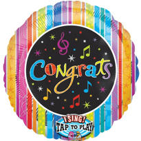 Congrats Confetti Singing Foil Balloon 28in