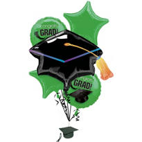 Foil Green Graduation Balloon Bouquet 5pc