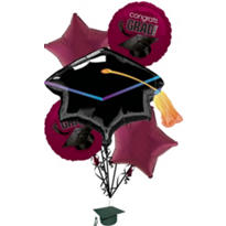Foil Berry Graduation Balloon Bouquet 5pc