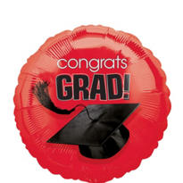 Foil Red Congrats Grad Graduation Balloon 18in