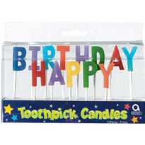 Happy Birthday Primary Toothpick Candles 13ct