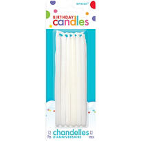 White Mini Taper Birthday Candles 5in 12ct