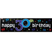 The Party Continues 30th Metallic Giant Sign Banner 65in x 20in