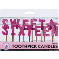 Sparkle Sweet 16 Toothpick Birthday Candles 13ct