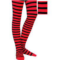 Adult Red and Black Striped Seamless Tights