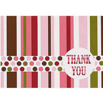 Pink Party Stripe Thank You Notes 8ct