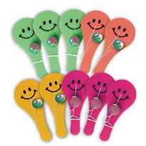 Smiley Face Paddle Balls 12ct