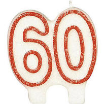 Number 60 Red Glitter Birthday Candle 3in