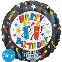 Happy Birthday Candles Singing Foil Balloon 28in