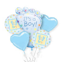 Foil It's A Boy Baby Shower Balloon  Bouquet 5pc