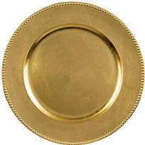 Gold Metallic Round Plastic Charger 14in
