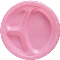 Pink Plastic Divided Dinner Plates 20ct