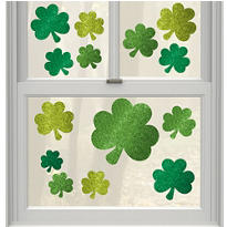 St. Patricks Day Vinyl Window Decorations 14ct