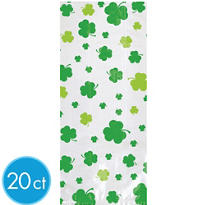St. Patricks Day Clover Treat Bags 20ct