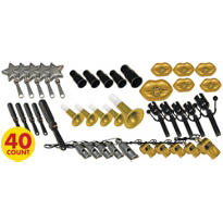 Black, Gold & Silver Plastic Noisemakers 40ct