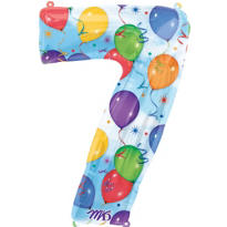 Number 7 Celebration Foil Balloon 34in
