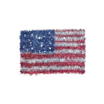 American Flag Tinsel Wreath 18in