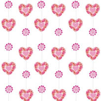 Flower Heart String Decorations 7ft 6ct