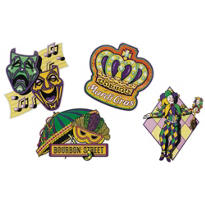 Classic Mardi Gras Cutouts 16in 4ct