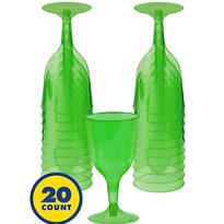 Transparent Green Plastic Wine Glasses 8oz 20ct