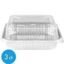 Disposable Square Cake Pans with Lids 3ct