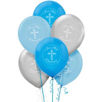 Print Blue Communion Latex Balloons 12in 15ct