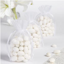 White Organza Box Bottom Wedding Favor Bags 12ct