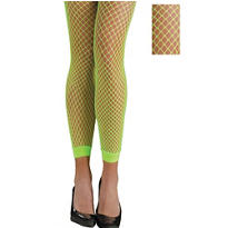 Adult Neon Green Footless Fishnet Stockings