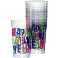 Clear Plastic Happy New Year Tumblers 16oz 25ct