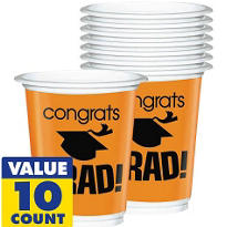 Orange Congrats Grad Plastic Graduation Cups 12oz 10ct
