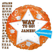 Foil Orange Personalized Graduation Balloon 22in