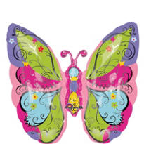Foil Whimsical Green Garden Butterfly Balloon 25in
