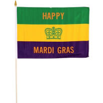 Crown Mardi Gras Flag 18in