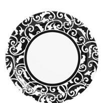 Black Ornamental Scroll Lunch Plates 8ct