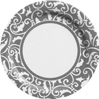 Silver Ornamental Scroll Lunch Plates 8ct