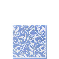 Pastel Blue Ornamental Scroll Beverage Napkins 16ct