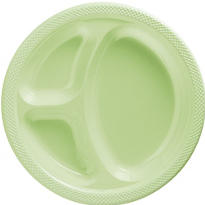 Leaf Green Plastic Divided Dinner Plates 20ct