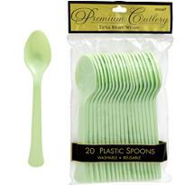 Leaf Green Premium Plastic Spoons 20ct