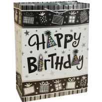 3D Black and White Birthday Gift Bag