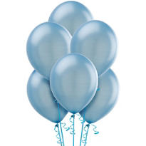 Powder Blue Pearlized Latex Balloons 12in 10ct