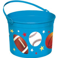 Plastic Sports Easter Bucket 8in
