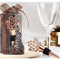 Copper Leaf Bottle Stopper Wedding Favor
