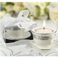 Teacup and Tealight Miniature Porcelain Wedding Favor